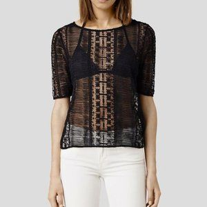 All Saints Maren Top 4 S Sheer Lace Design T shirt